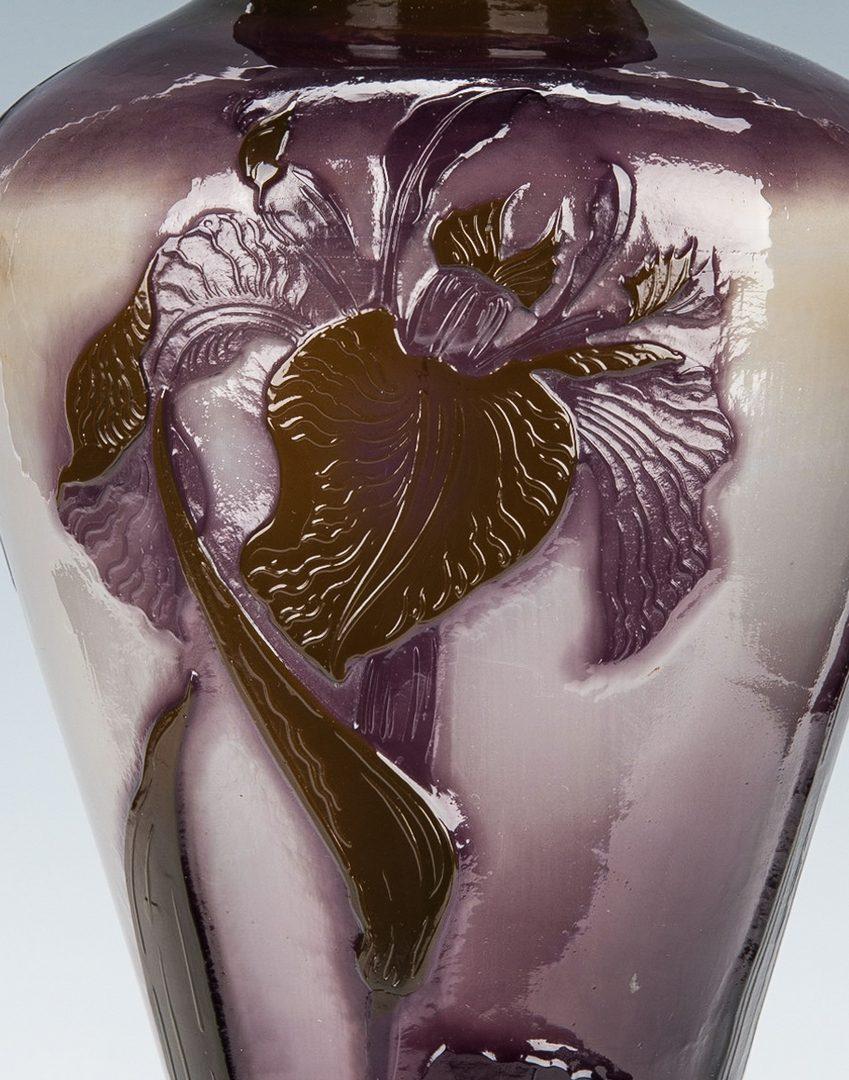 "Lot 570: Art Glass Iris Vase, 17"" H"