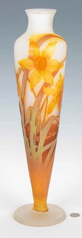 "Lot 571: Galle Narcissus or Daffodil Vase, 20"" H"
