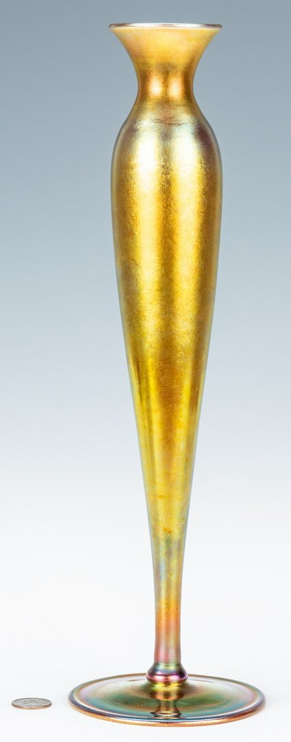 """Lot 573: Tall Steuben Aurene Art Glass Vase, 16"""", Labeled and Marked"""