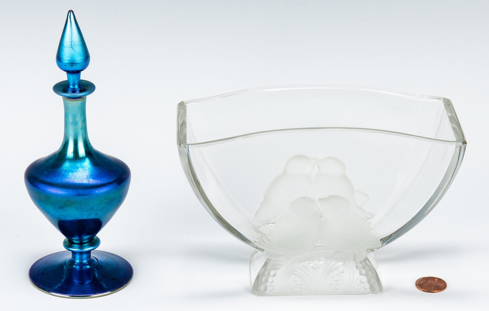 Lot 574: Verlys Love Birds Vase & Steuben Perfume Bottle