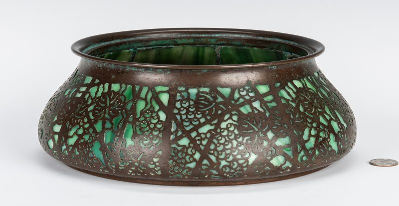 Lot 576: Tiffany Studios Glass and Bronze Jardiniere