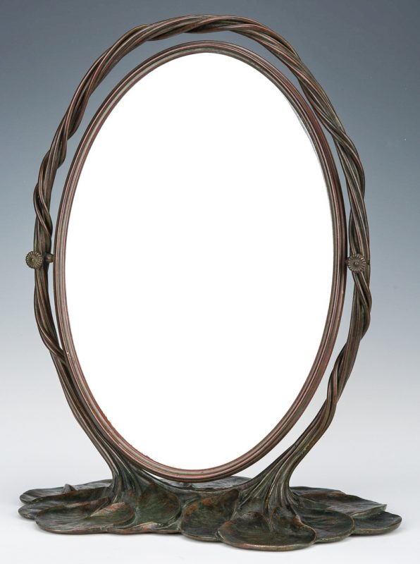 Lot 577: Tiffany Studios Bronze Lily Pad Mirror