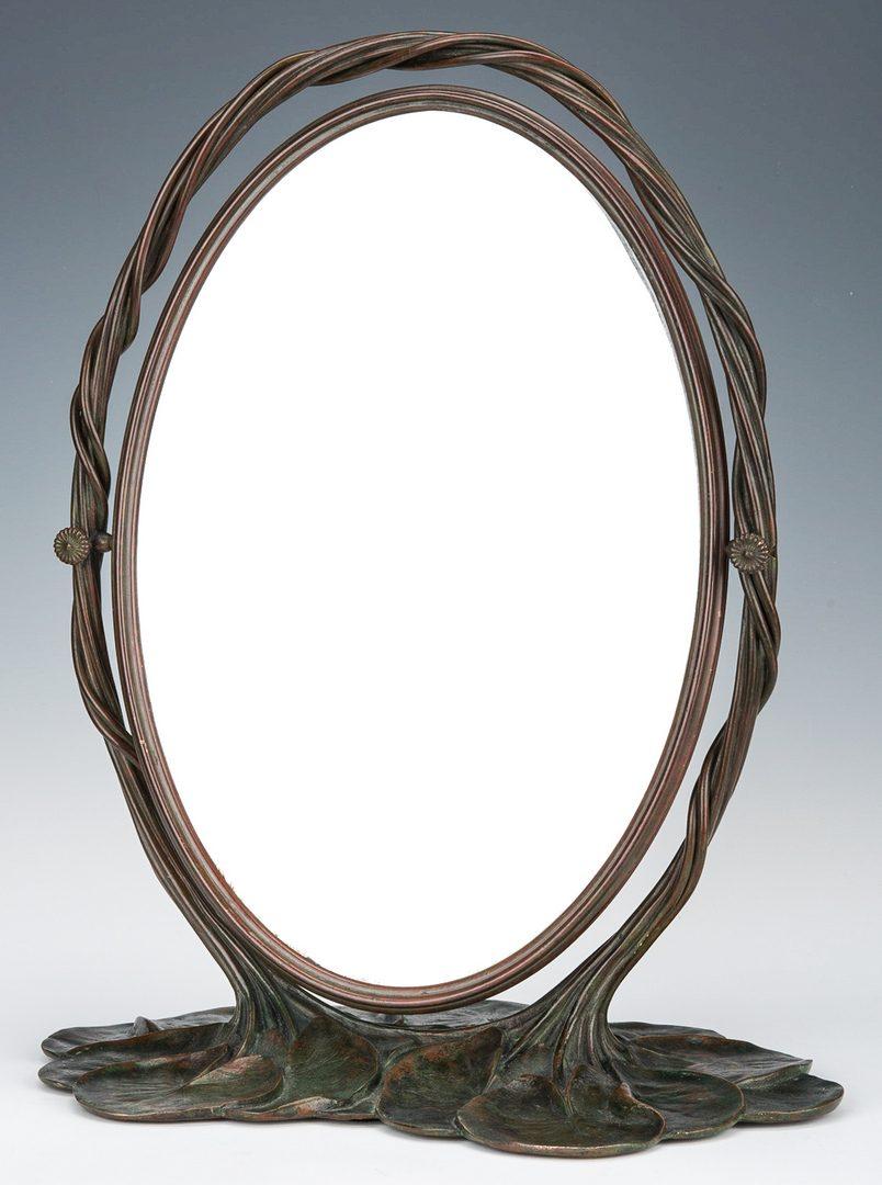 Lot 577: Tiffany Studios Bronze Lily Pad Mirror