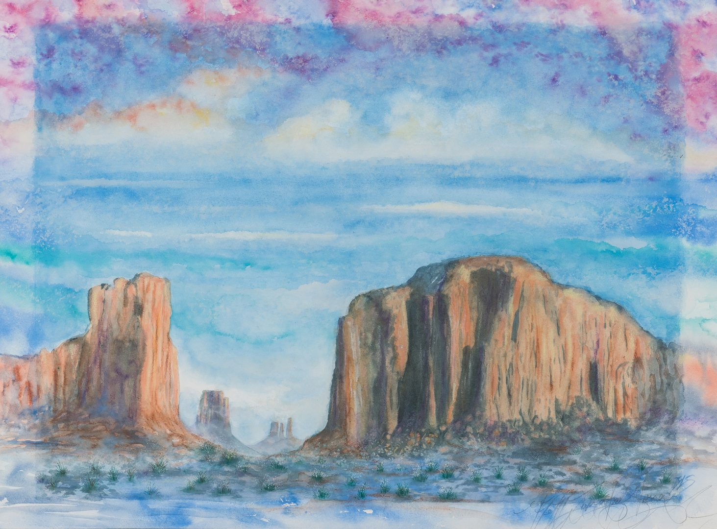 Lot 582: B. Livingstone-Strong Watercolor, Monument Valley