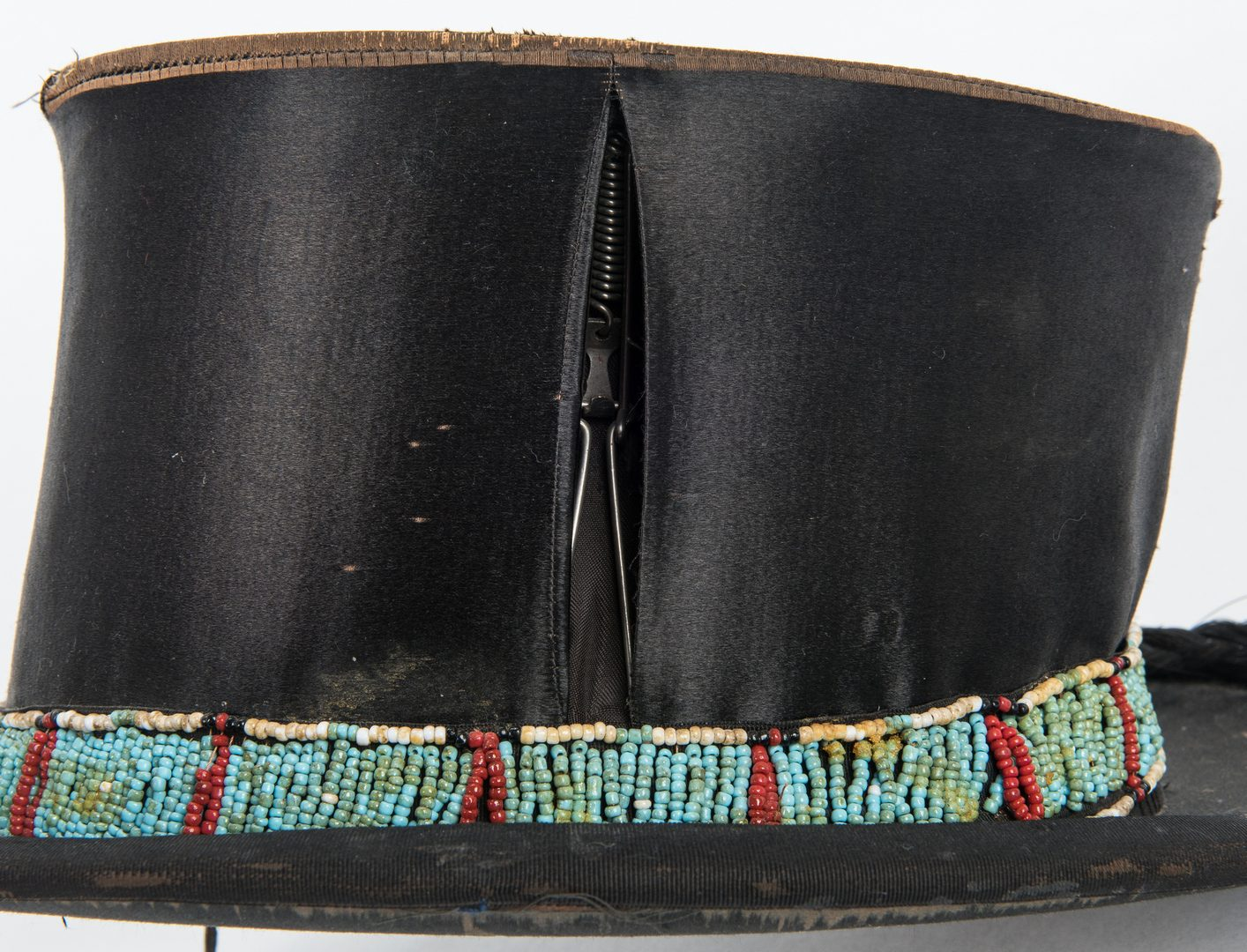 Lot 587: 2 Western Hats w/ Native American Beaded Bands