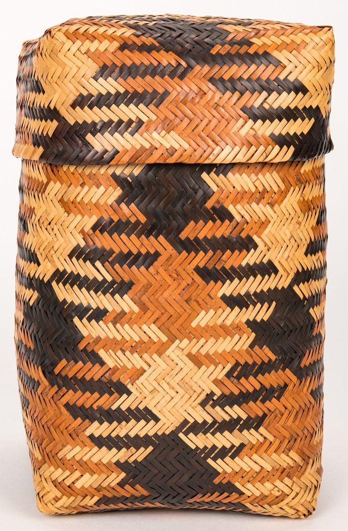 Lot 595: Cherokee Eva Wolfe Double Rivercane Storage Basket