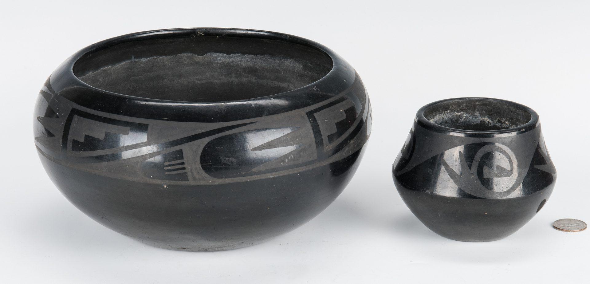 Lot 600: 2 Tonita Martinez Roybal San Ildefonso Pottery Jars