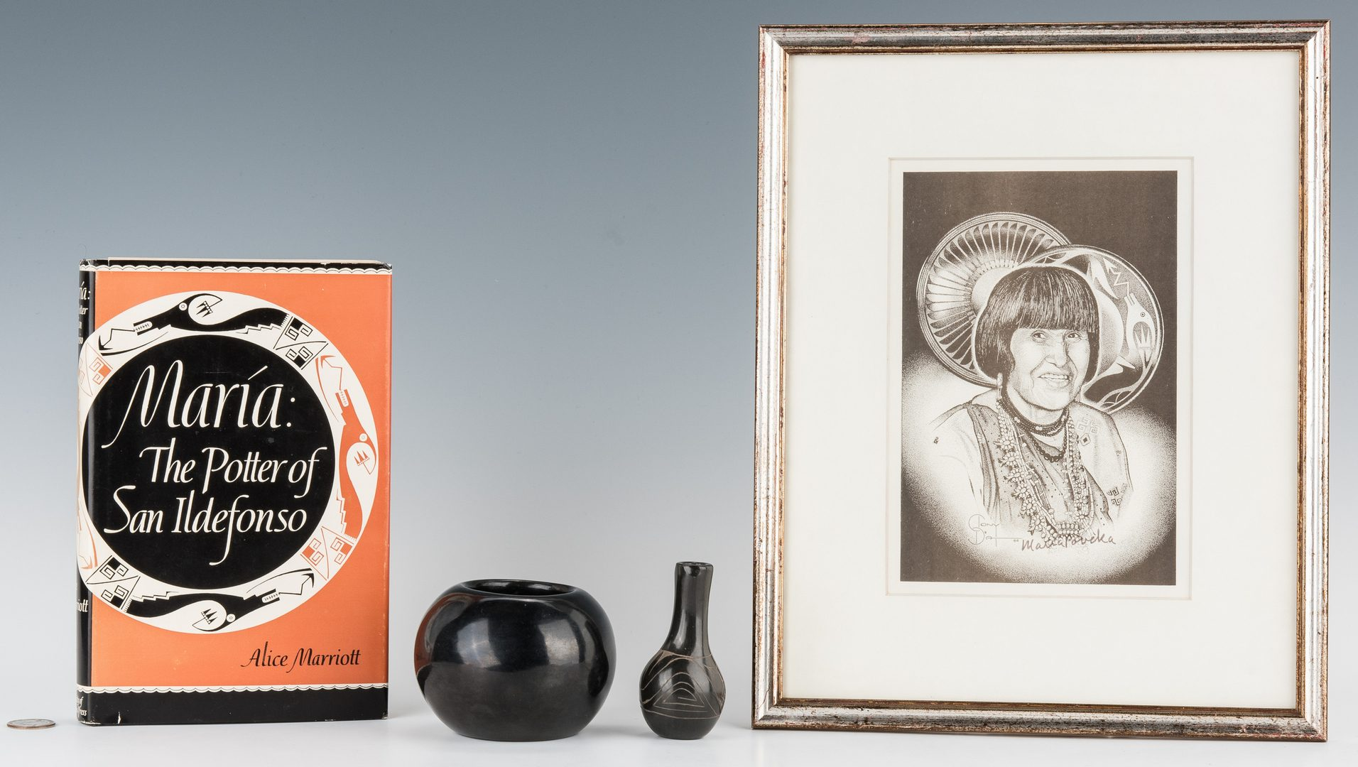 Lot 603: Maria Martinez bowl, miniature vase, portrait and book