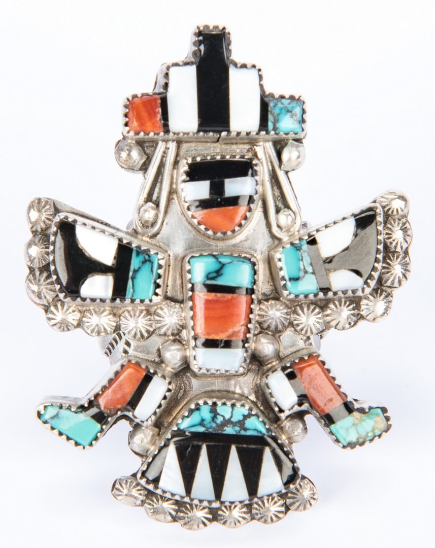 Lot 606: 3 Pc Set Leonard Martza Zuni Jewelry plus other