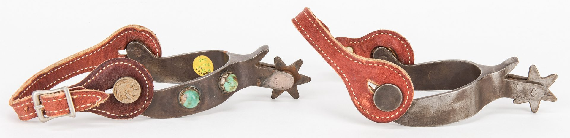 Lot 608: Pair Signed Oscar Crockett Spurs & Bit