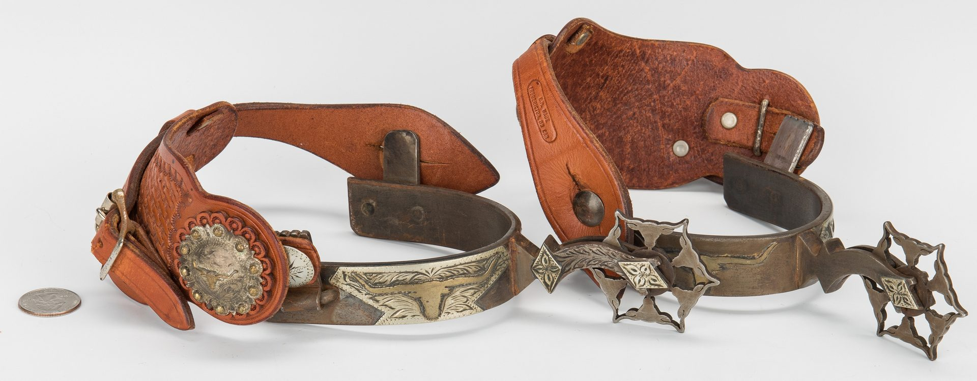 Lot 609: Pair Lytle & Mower Signed Horse Spurs
