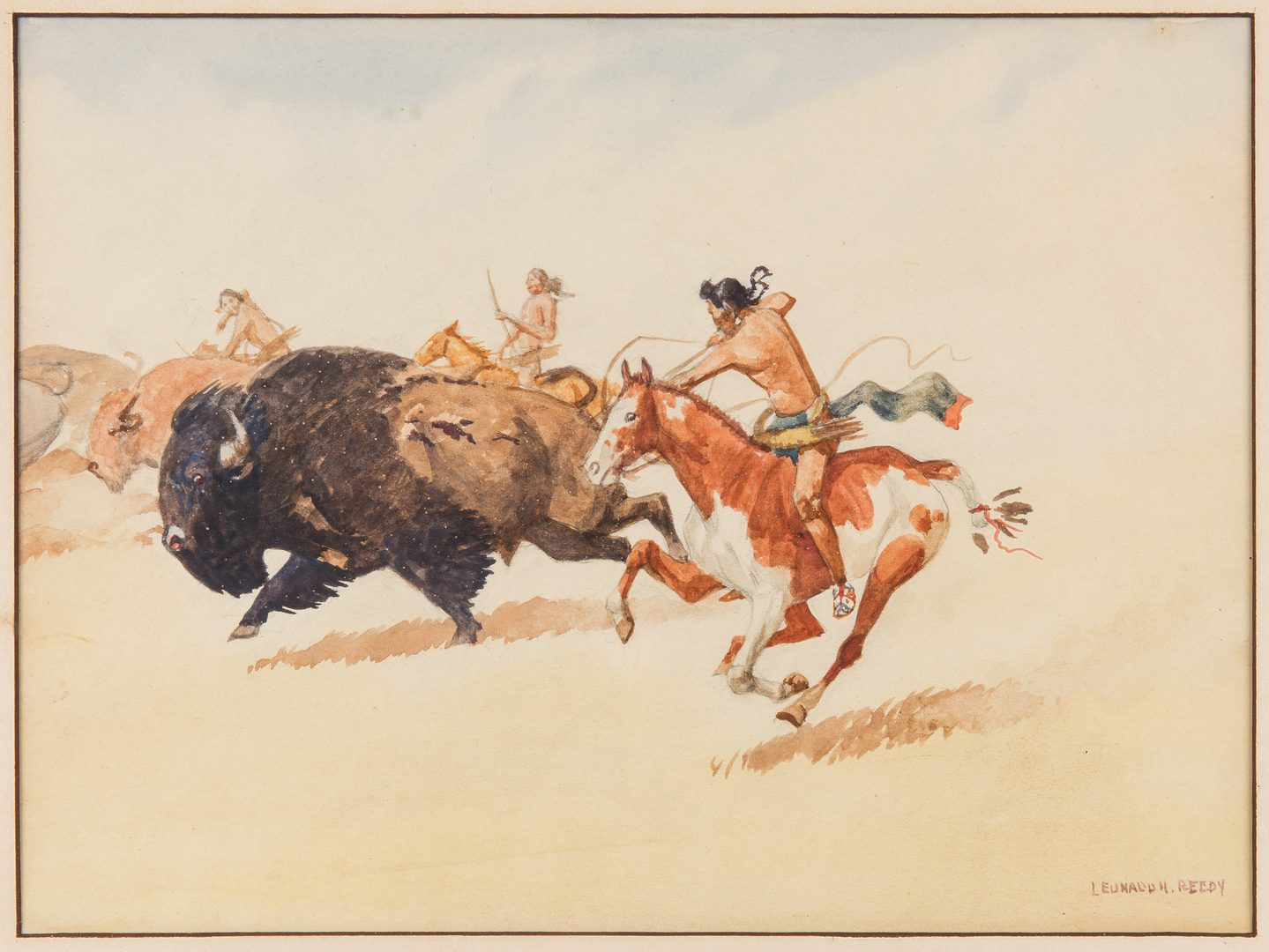 Lot 611: Leonard H. Reedy Watercolor, Buffalo Hunt