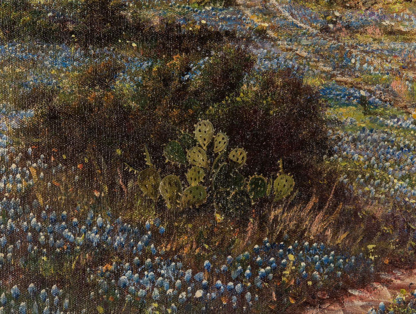 Lot 618: W.R. Thrasher, TX Bluebonnets Landscape Oil