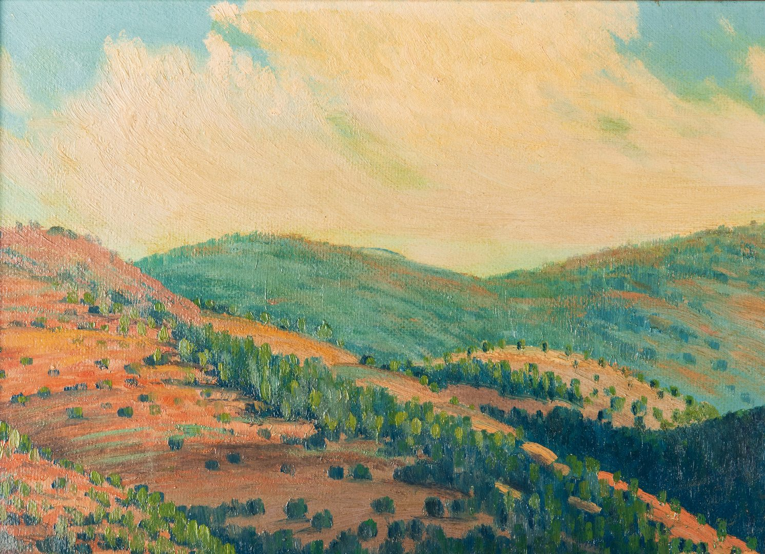 "Lot 619: Dawson Napps O/B Texas Landscape, ""Autumn Hills"""