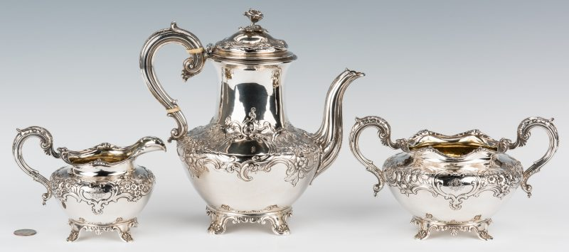 Lot 61: William IV Silver Tea Set, Barnard, 3 pcs