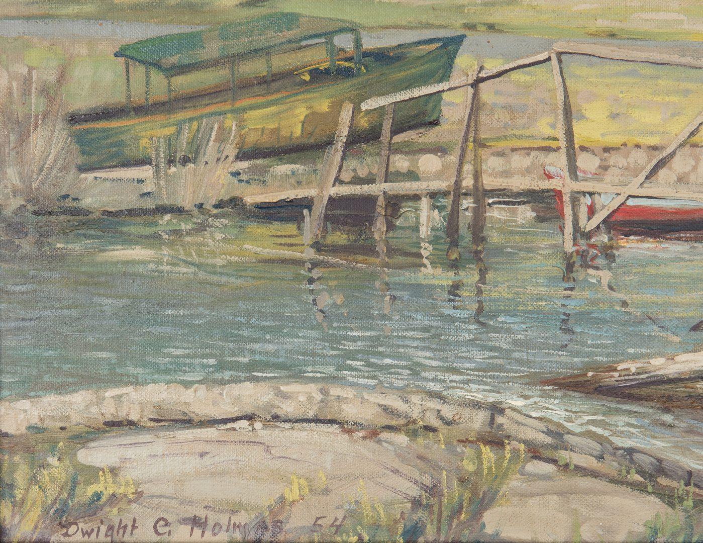 Lot 620: Dwight Holmes Oil Landscape, Bridge & Boats