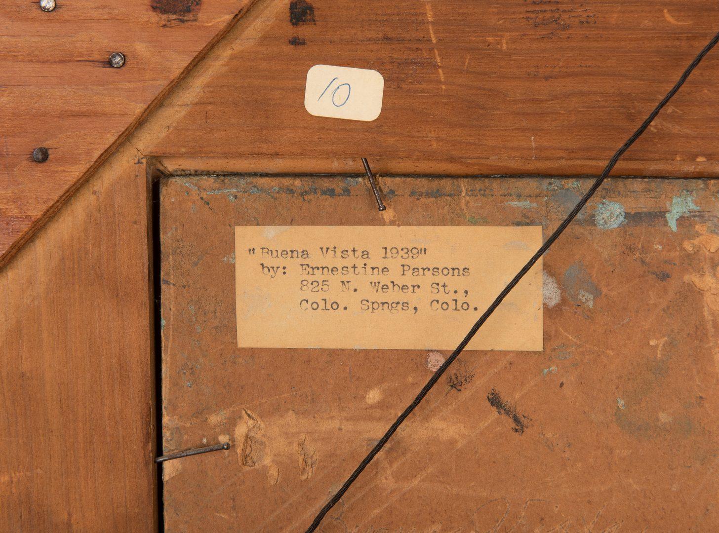 "Lot 625: Ernestine Parsons, O/B, ""Buena Vista 1939"""