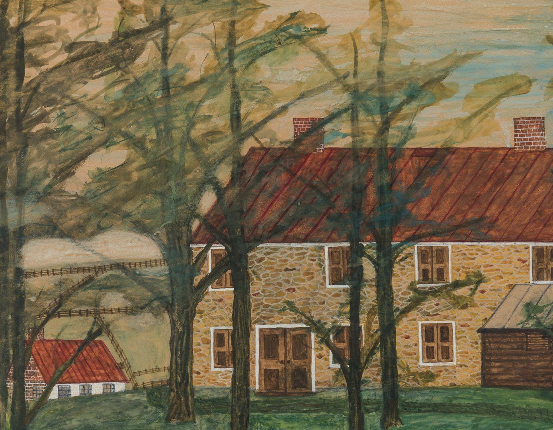 Lot 630: Pair 1930s Waterford VA Folk Art House Paintings