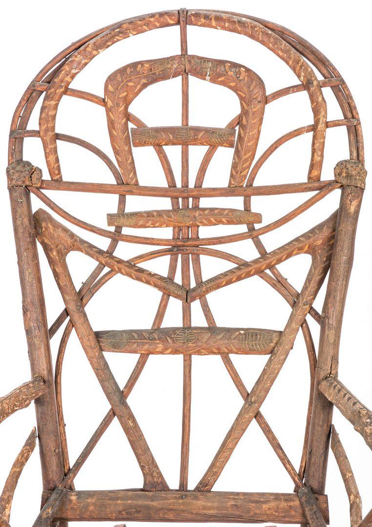 Lot 631: Virginia Folk Art Table & Carved Bent Twig Rocker, 2 items