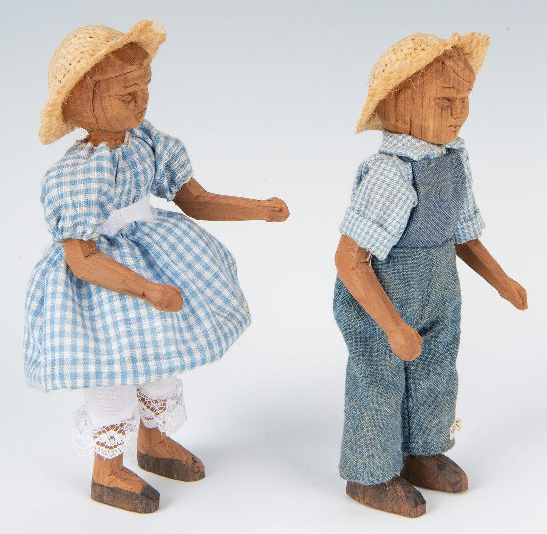 Lot 639: 4 TN Polly Page Folk Art Carved Dolls