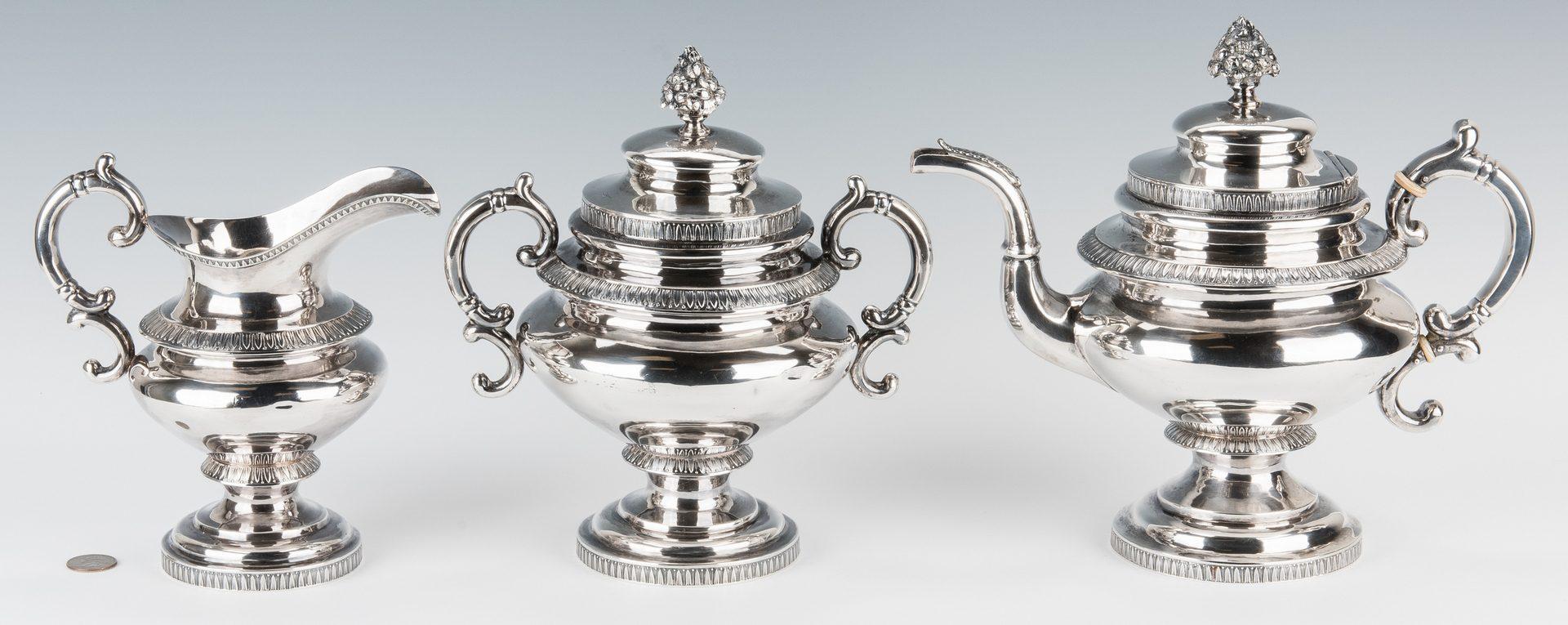 Lot 63: New York Cox Coin Silver Tea Set, 3 pcs.
