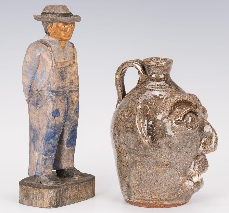 Lot 641: Roy Pace Carving & Small B. Craig Face Jug