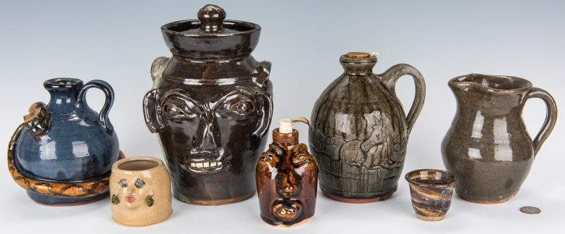 Lot 643: NC & GA Folk Pottery, 7 pieces incl. Face Jug