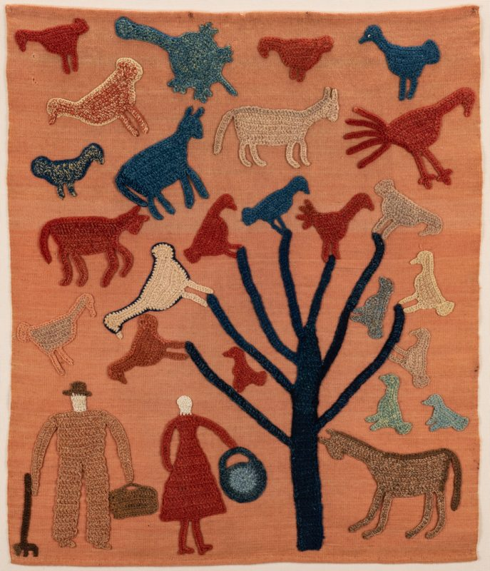 Lot 645: Granny Donaldson Folk Art Textile, Tree with Birds