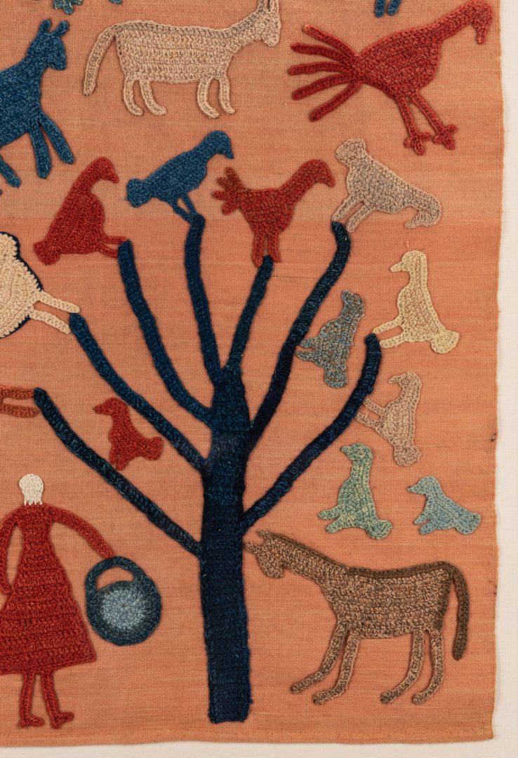 Lot 645: Granny Donaldson Folk Art Textile, Tree with Birds