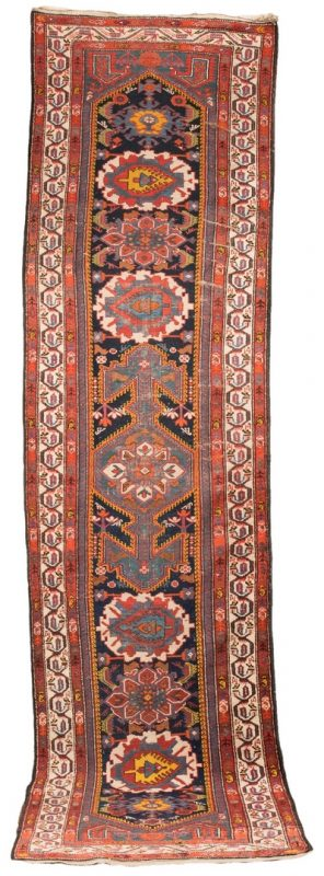 "Lot 653: Antique Kurdish Hamadan Runner, 12'4"" x 3'3"""