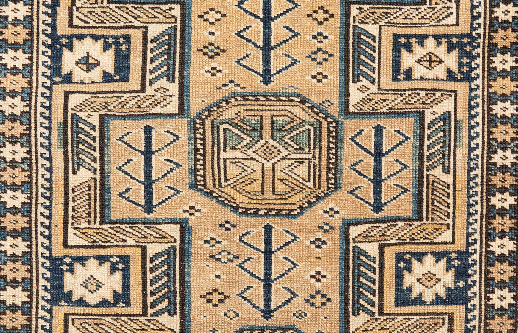"Lot 657: Antique Caucasian 3-Color Shirvan rug, 5' x 3'8"""