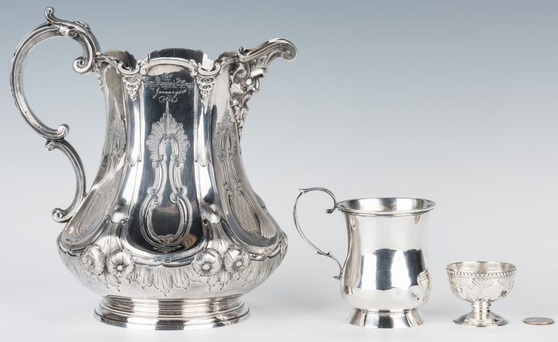 Lot 65: Coin Silver Pitcher, Mug and Salt