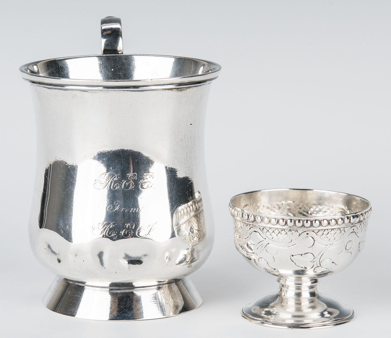 Lot 65: Coin Silver Pitcher, Mug and Salt