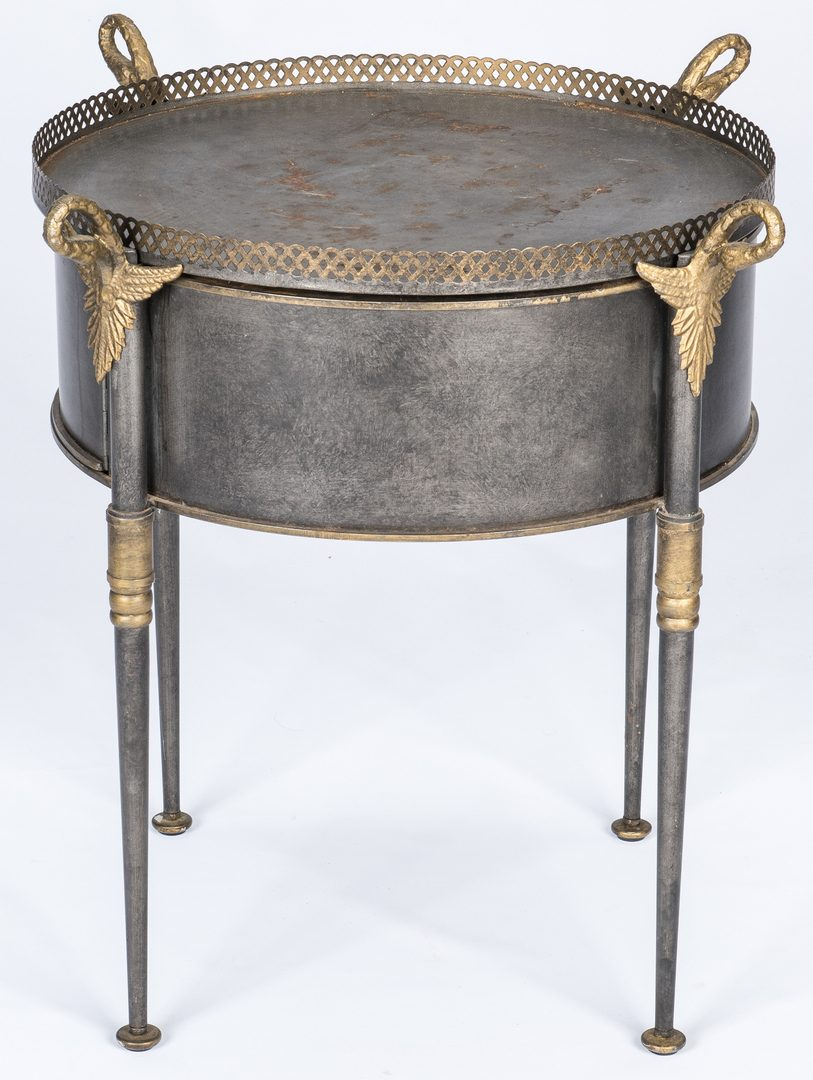 Lot 662: Trouvailles French Empire Style Metal Drum Table