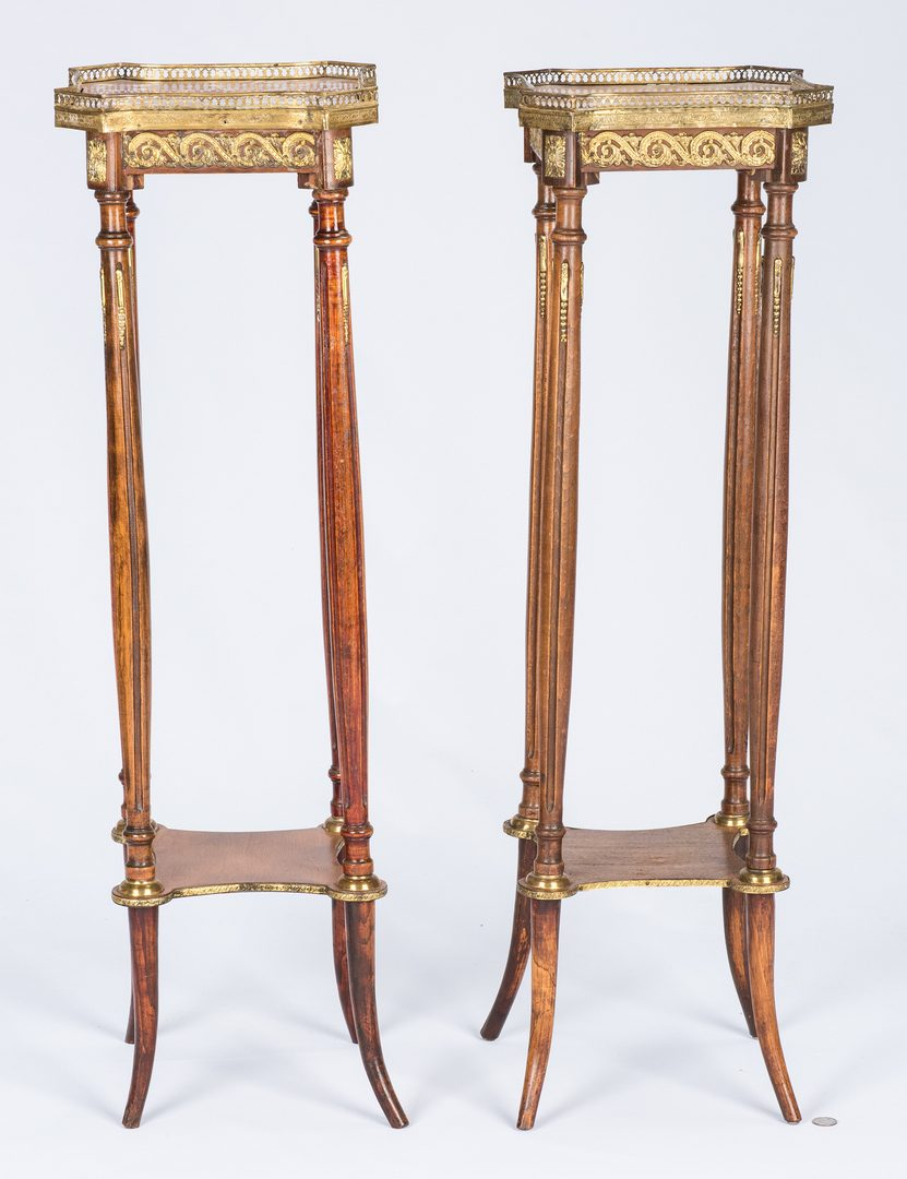 Lot 663: Pair Louis XVI style Marble top Stands