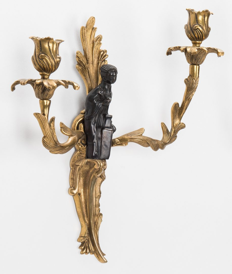 Lot 664: Pr. French Bronze Chinoiserie Sconces
