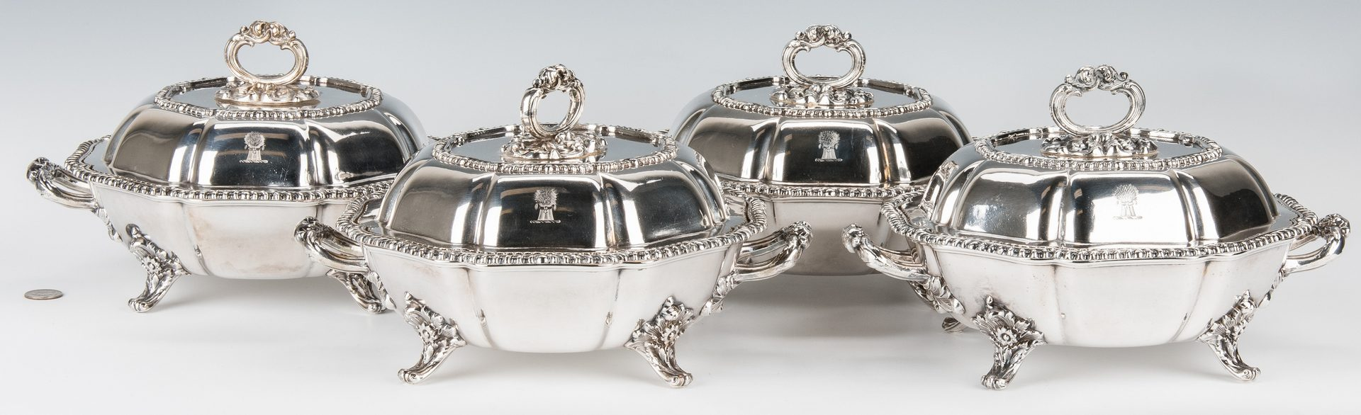 Lot 66: 4 Matthew Boulton Armorial Entree Dishes