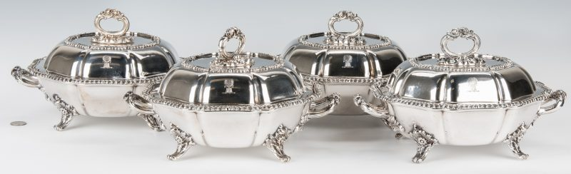 Lot 66: 4 Matthew Boulton Armorial Entree Dishes