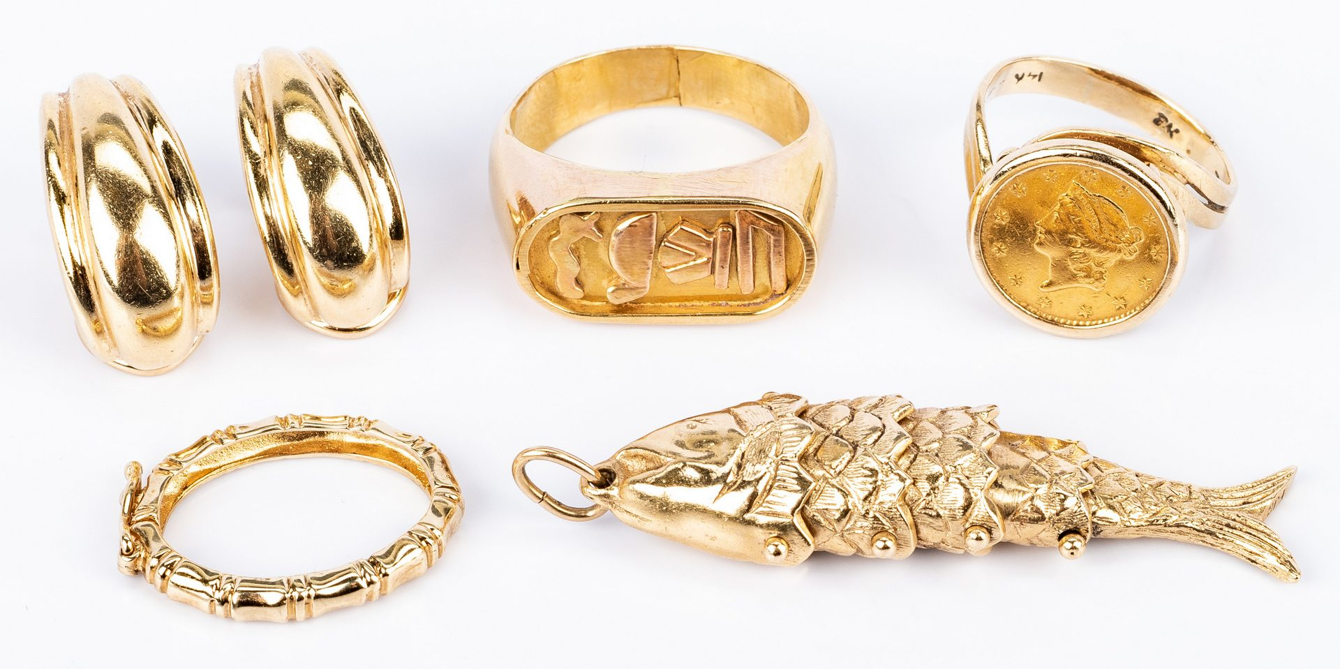 Lot 670: Assorted 14/18K Gold jewelry, 5 items