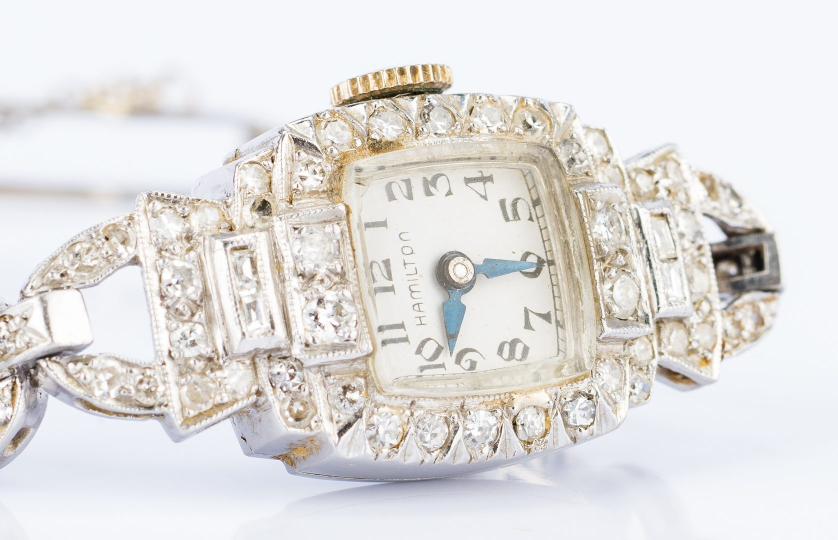 Lot 673: Platinum Diamond Hamilton watch