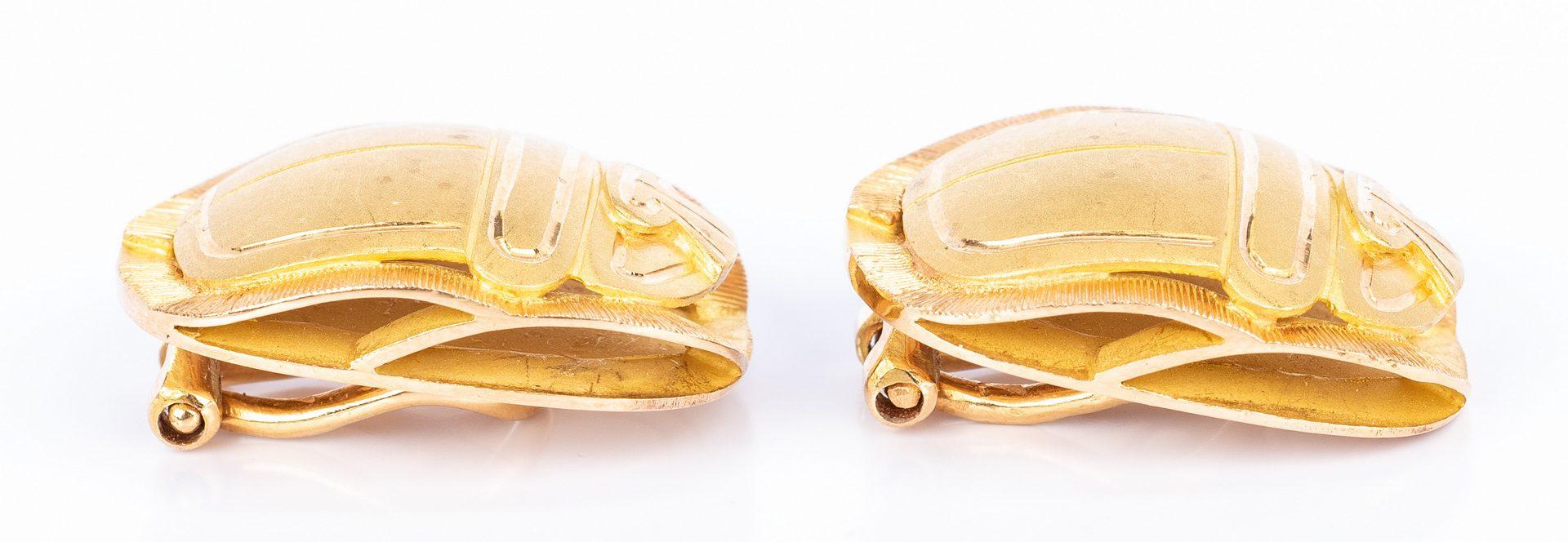 Lot 677: Pair 18K Two-Tone Scarab Earrings
