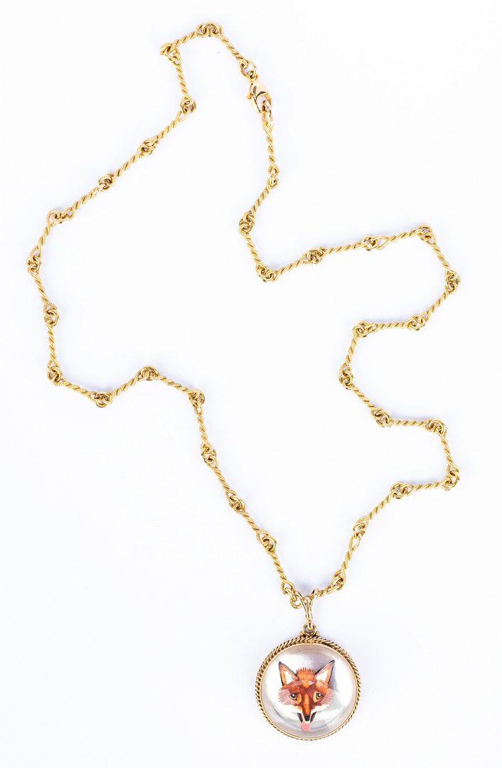 Lot 678: 2 14K Crystal Jewelry Items, incl. Fox