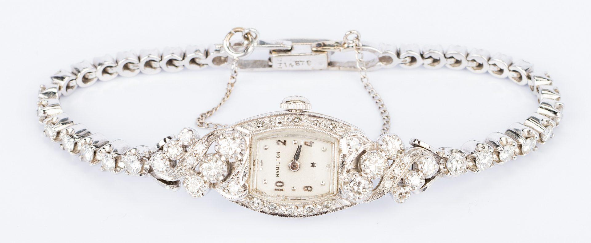 Lot 682: 14K Lady's Diamond Hamilton Watch