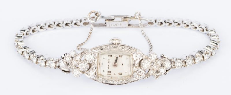 Lot 682: 14K Lady's Diamond Hamilton Watch