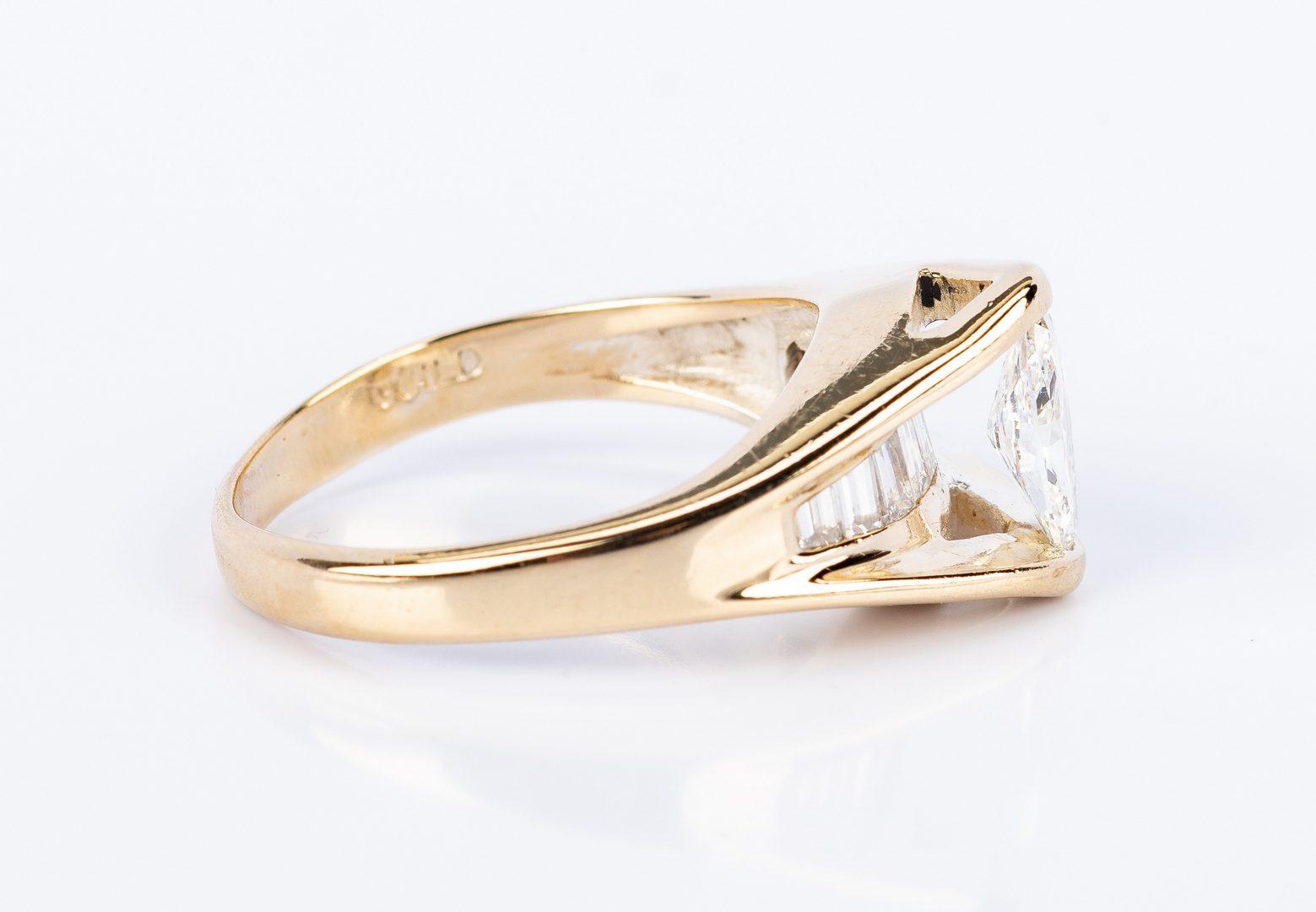 Lot 683: 14K Marquise Diamond Fashion Ring