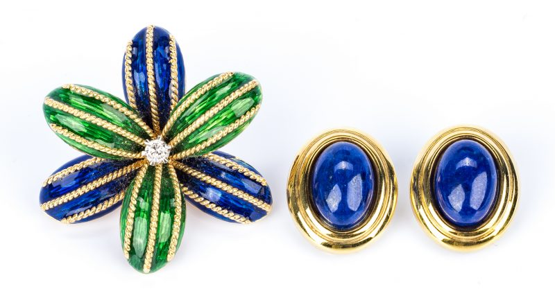 Lot 684: Italian Gold Enamel pin + Lapis earrings