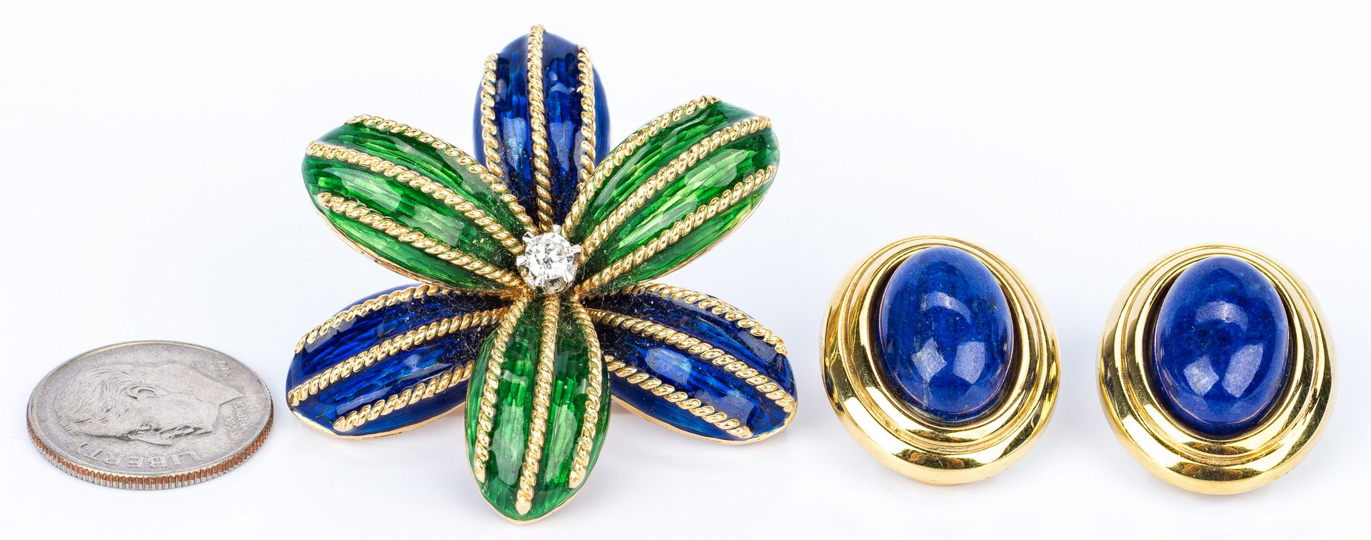 Lot 684: Italian Gold Enamel pin + Lapis earrings