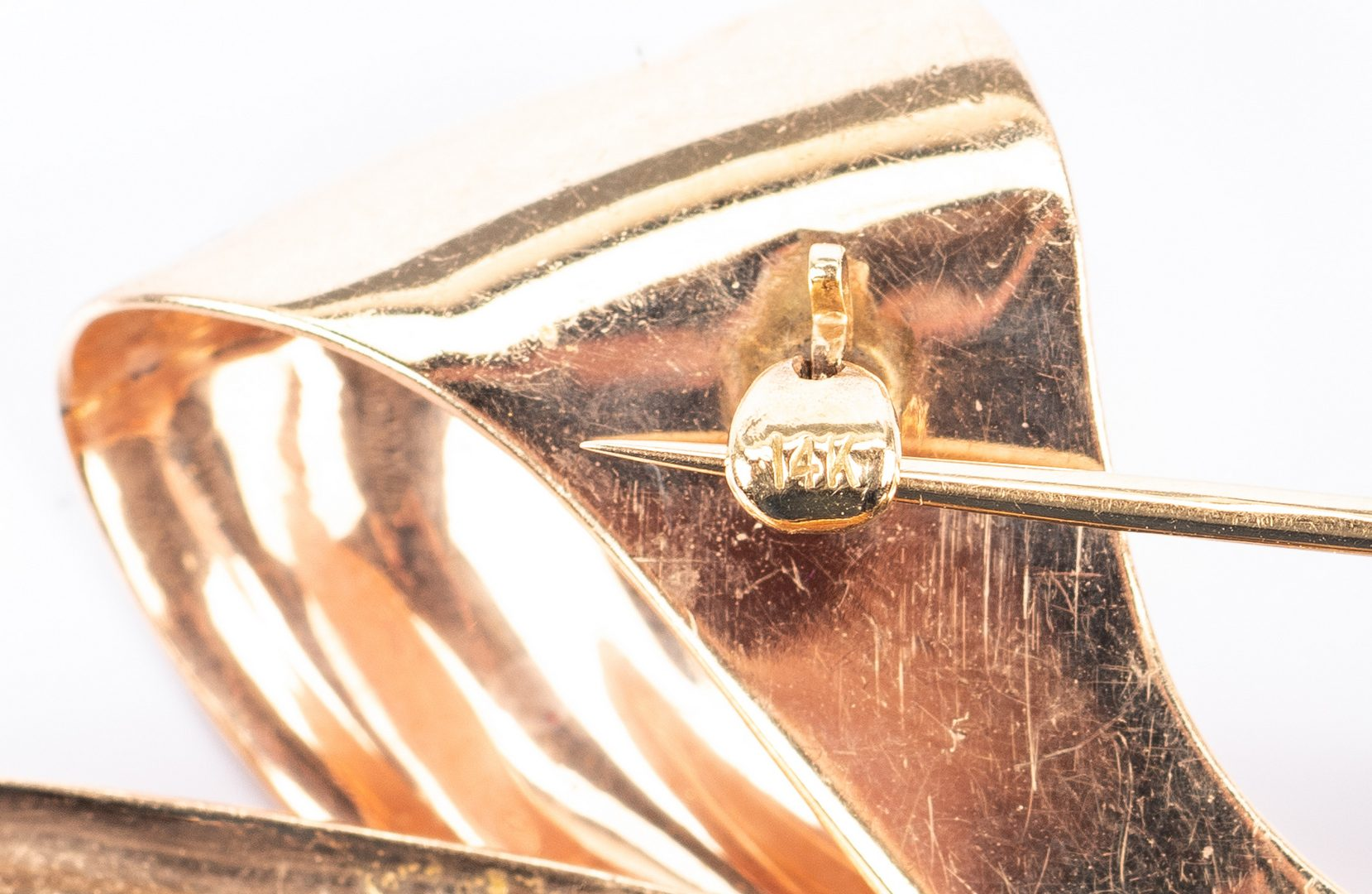 Lot 685: 14K Gemstone Bow Pin, Bow Earrings