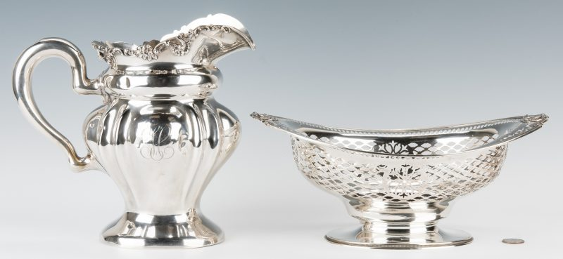 Lot 698: American Sterling Water Pitcher & Gorham Sterling Presentation Bowl