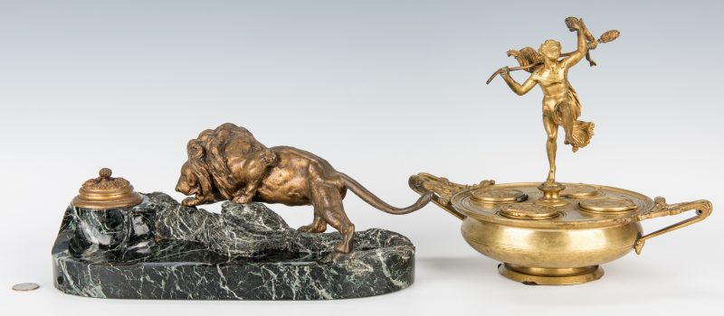Lot 69: 2 Inkwells, incl. Classical Figure & Lion